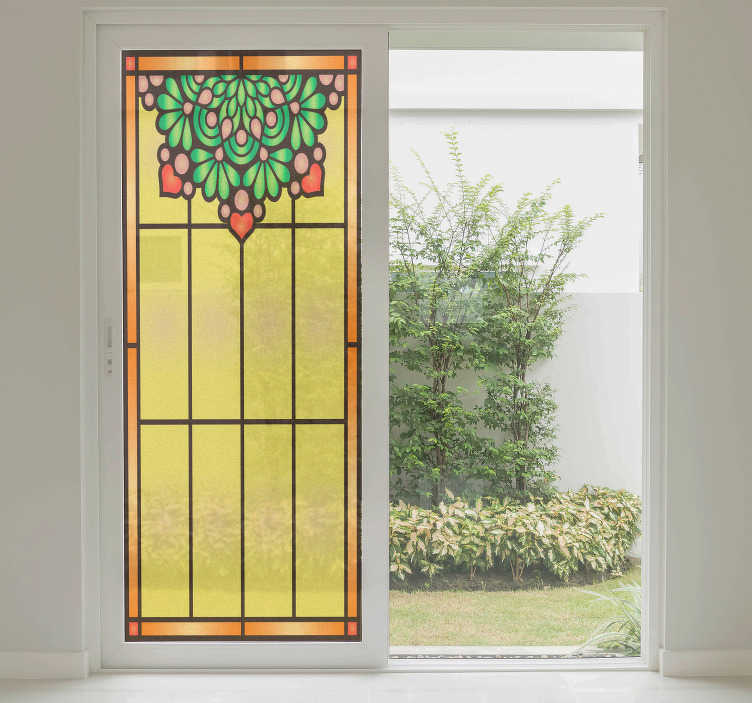 TENSTICKERS. Adesivo窓ステンドグラス. この素敵な窓adesivoあなたの家を飾ると部屋を明るくするでしょう。ステッカーには黄色の汚れたガラス効果があり、その上に花の花束が描かれています。