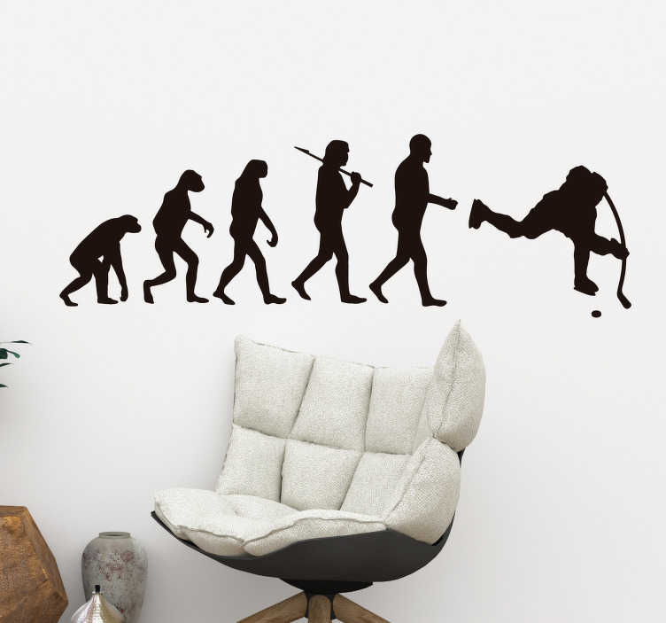 TenStickers. Human evolution ice hockey wall decal. Human evolution ice hockey wall decal customisable in different colour options. It is easy to apply and adhesive. Highly durable and guaranteed.