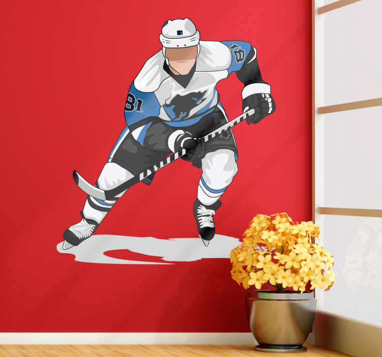 TenStickers. Hockey player blue wall decor. High quality teens room wall decal to decorate your house. If you are a hockey player this sports wall sticker will be just perfect for you!