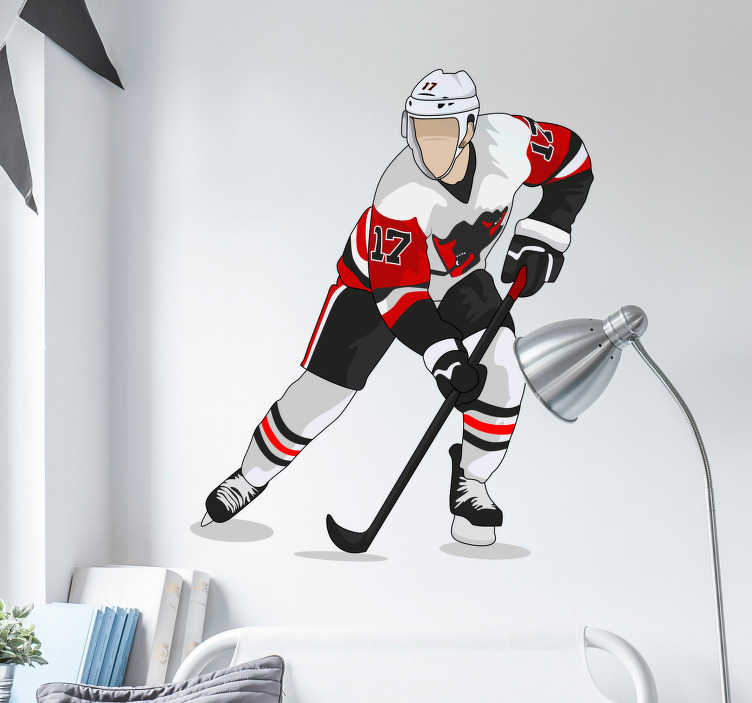 TenStickers. Hockey player red wall decor. Fantastic hockey player in a red outfit can be your new a teens room wall decal. Quick and easy to apply, no air bubbles or tears.
