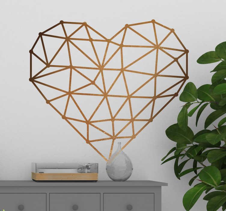 TenVinilo. Vinilo origami corazón. Vinilo decorativo con forma de corazón, perfilado con líneas y un color que simula el tono de una superficie metálica de cobre.