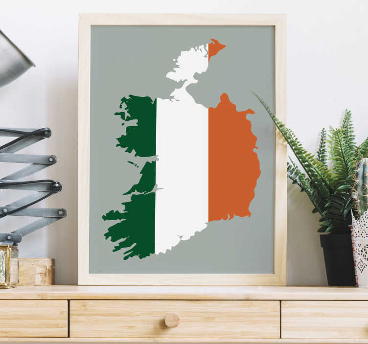 TenStickers. Flag Map of Ireland Wall Sticker. Flag map of the Republic of Ireland wall sticker for personalising your living room, bedroom and more! Decorate the walls of your home or pub with the green, white and orange of the Ireland flag covering the shape of the country.