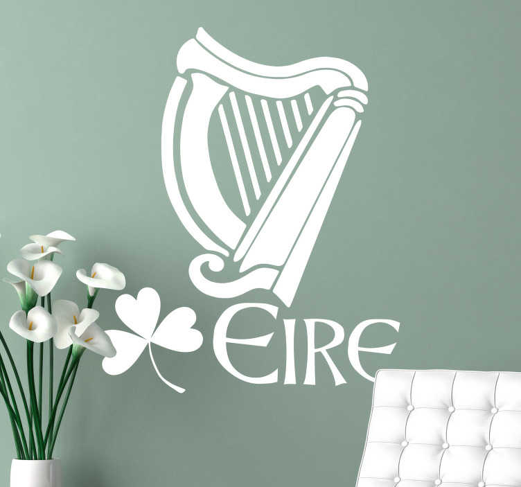 "TenStickers. Irish Harp Wall Sticker. Celtic harp wall sticker with the a shamrock and the word ""Éire"" in a classic Gaelic font. Celebrate Irish heritage with this Ireland wall sticker to create a great atmosphere in any room in your home or business."