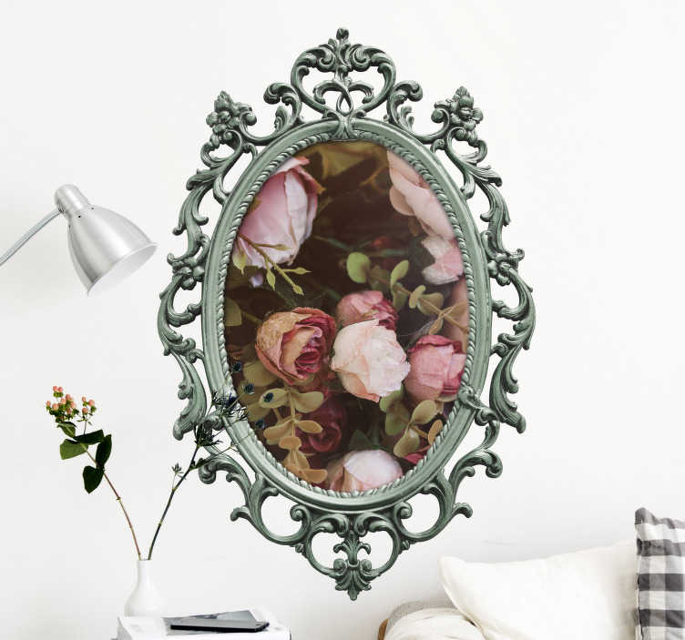 TenStickers. Wall decal personalized vintage mirror. Create a vintage look in your house with this personalized vintage mirror wall decal. This wall sticker can be personalized by your own picture in the middle of the vintage mirror frame.