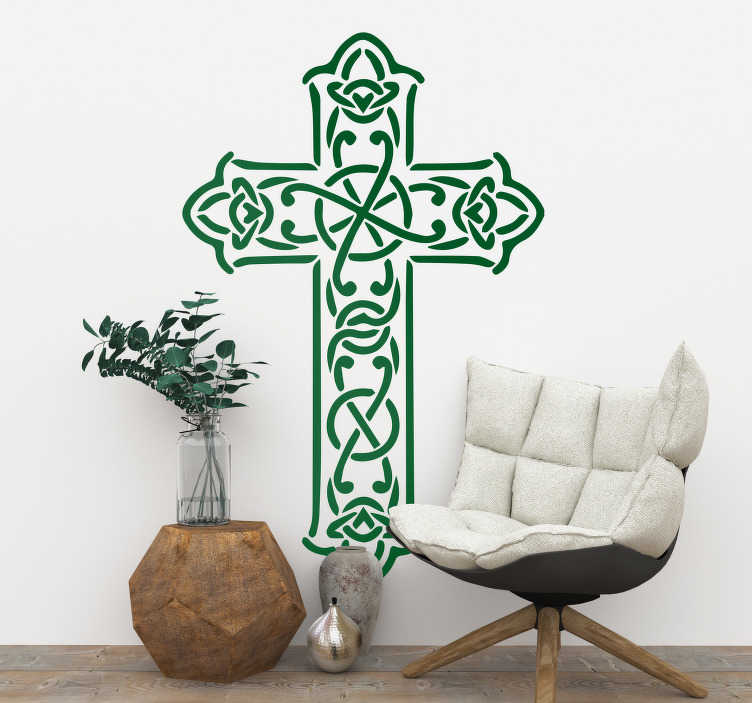 TenStickers. Religious Celtic Cross Wall Sticker. Celtic cross religious wall sticker for bringing a spiritual atmosphere to the walls of your home, perfect for decorating your living room or bedroom. Bring a touch of traditional Irish Christianity to your home decor with this easy to apply cross sticker.