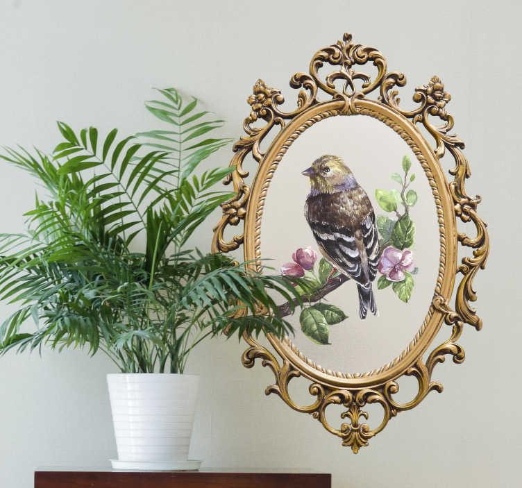 TenStickers. Vintage spiegel frame vogel muursticker. Haal de vintage look in huis met deze muursticker met vintage look. Deze wanddecoratie bestaat uit een vintage spiegel frame met daarin een afbeelding van een vogel op een tak.