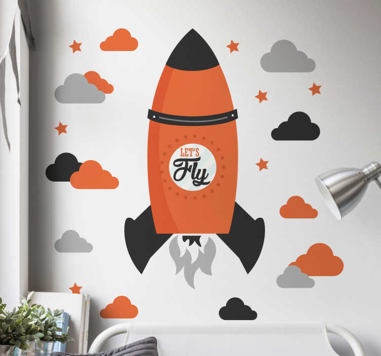 TenStickers. Let´s Fly Rocket Wall Sticker. Decorate your home with this fantastic wall art sticker, depicting a stunning rocket ship in full flight! Sign up for 10% off.