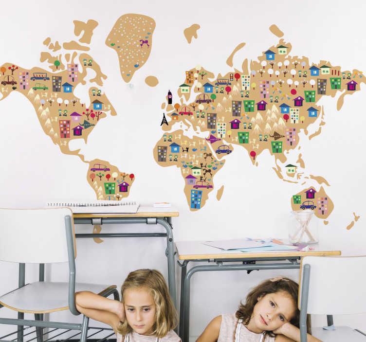 TenStickers. Wereldkaart muursticker kinderen steden. Decoreer de lege muren met deze wereldkaart muursticker. Deze sticker is speciaal gemaakt voor kinderen en heeft veel verschillende figuren op de wereldkaart, als huizen, dieren en auto's.