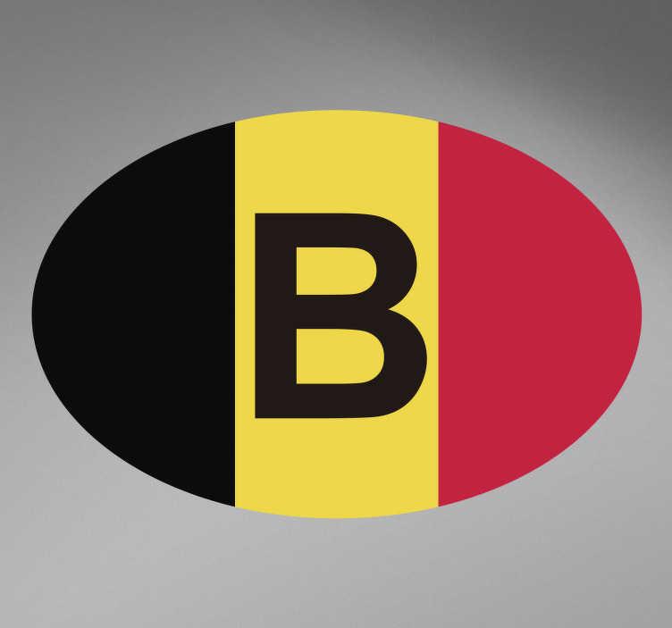TenStickers. Auto sticker België. Plak deze België sticker op de auto! Deze autosticker bestaat uit de Belgsiche vlag met de letter B in het midden. Laat zien dat u van België houdt!