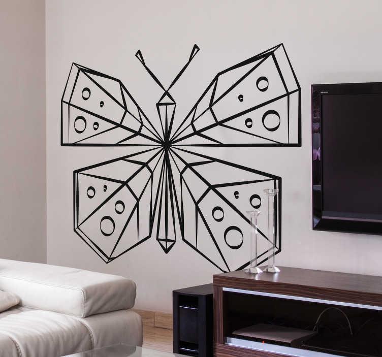 TenStickers. Naklejka ścienna motylkowa geometryczna. Niesamowita geometryczna naklejka ścienna do dekoracji ścian w domu. Idealna naklejka na ścianę dla zwierząt, dodająca życia do pokoju i zapewniająca niepowtarzalny wystrój wnętrza. Ten geometryczny wzór pokazuje motyla dostępnego w różnych rozmiarach i 50 różnych kolorach.