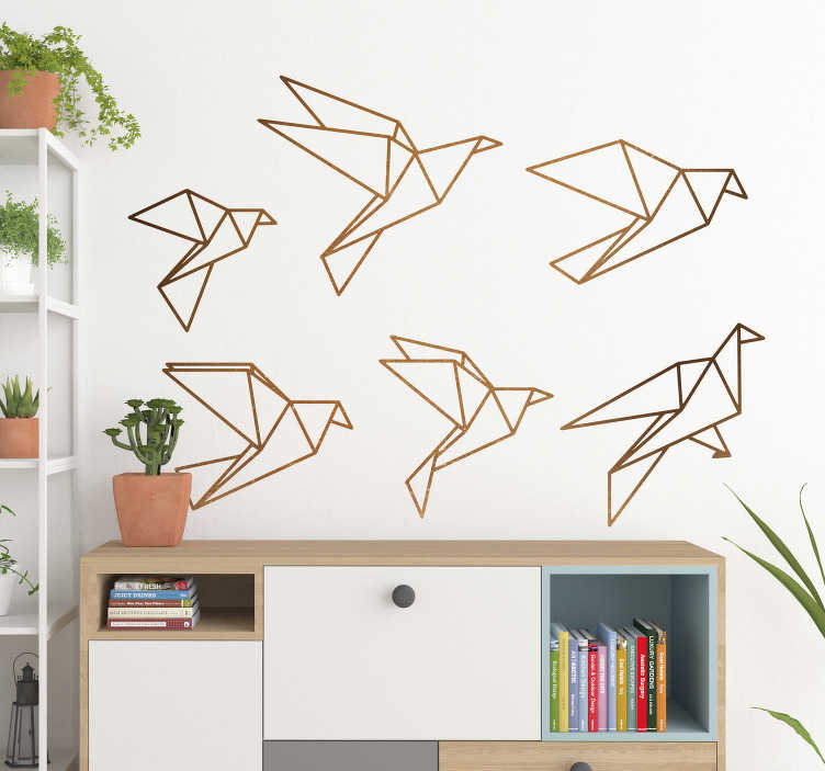 TenStickers. Origami birds wall decal. These lovely origami birds wall decal will bring an open and free feeling to your house. The sticker consists out of 6 origami birds.