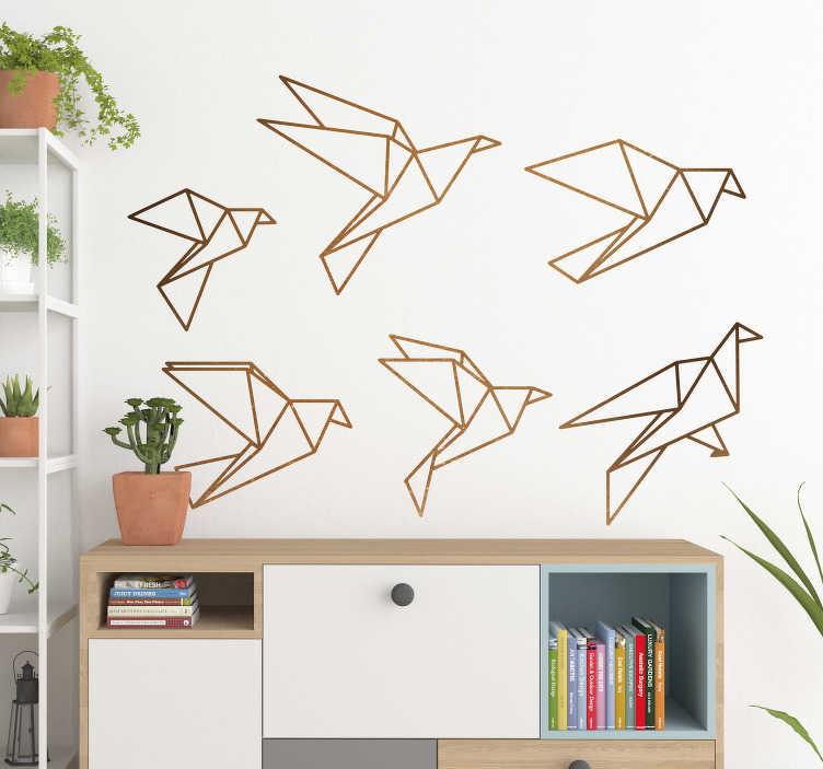 TenVinilo. Vinilo origami pájaros volando. Pegatinas pared con el dibujo de diferentes aves de papel con las que personalizar la decoración de cualquier estancia.
