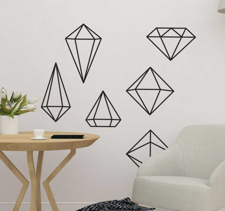 TenStickers. Geometrical prisms wall decal. If you are looking to decorate your empty walls with simple and elegant designs this wall decal is for you. The sticker consists of 6 different formed geometrical prisms.