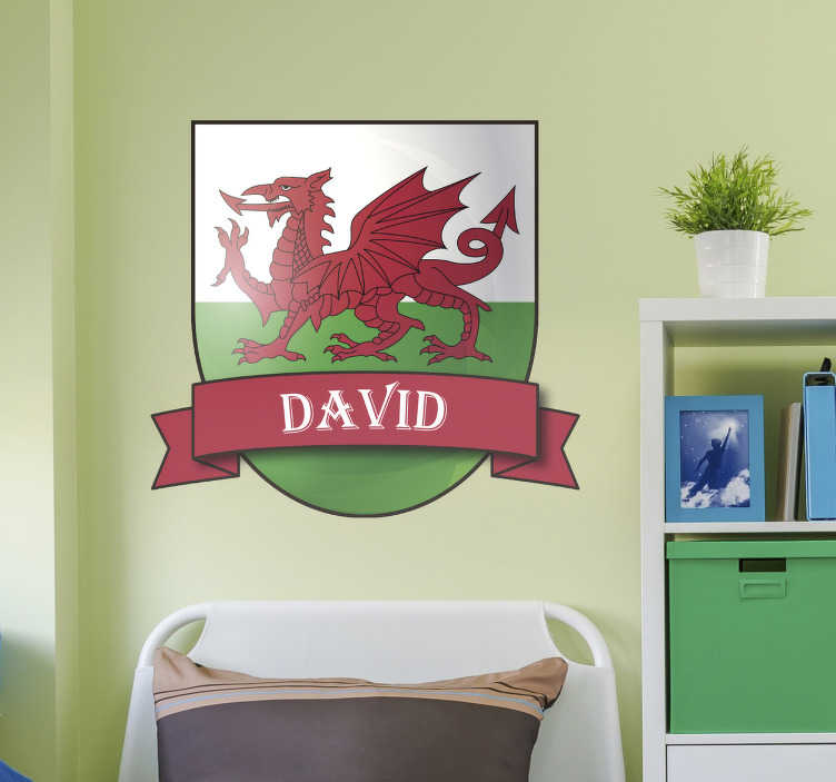 TenStickers. Personalised Welsh Dragon Wall Sticker. Personalised Welsh dragon wall sticker for decorating any teen's room or kid's bedroom. Add a personal touch to your walls and show off your Welsh pride with this vibrant high quality Wales wall sticker showing the country's flag and a name of your choice.