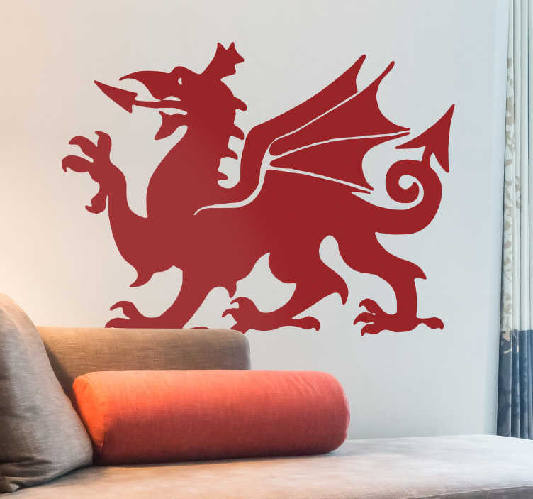 TenStickers. Welsh Dragon Wall Sticker. High quality Welsh Dragon wall sticker. Perfect for adding a touch of colour and Welsh pride to any living room, bedroom or teen's room. This dragon sticker can be used wherever you like as it is available in various sizes and even different colours if you'd like.