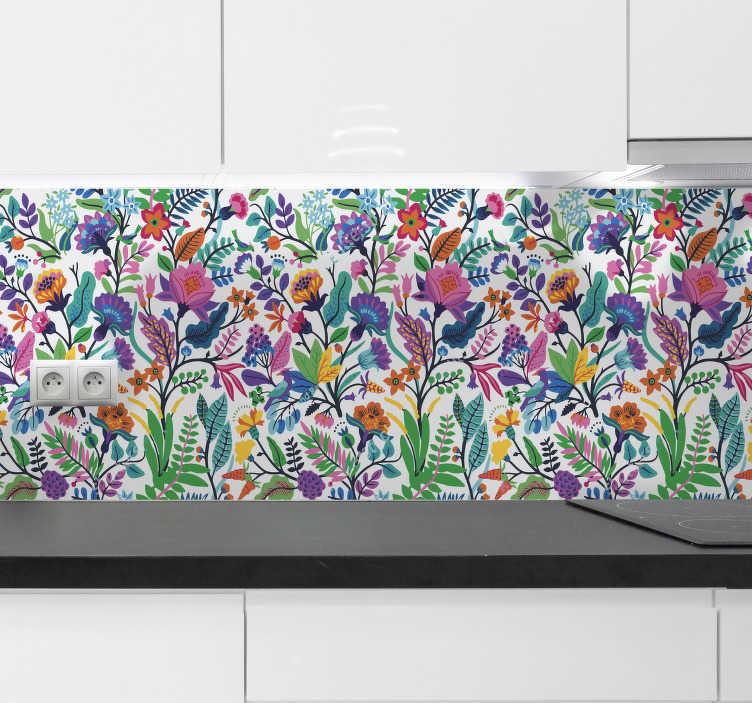 TenStickers. Sticker cuisine frise fleurs. Sticker frise représentant des fleurs et végétaux multicolores. Un sticker coloré qui vous permettra de changer l'atmosphère de votre intérieur. Que cela soit dans votre cuisine, ou dans votre chambre par exemple, notre adhésif original saura apporter une touche exotique et naturelle à votre pièce!