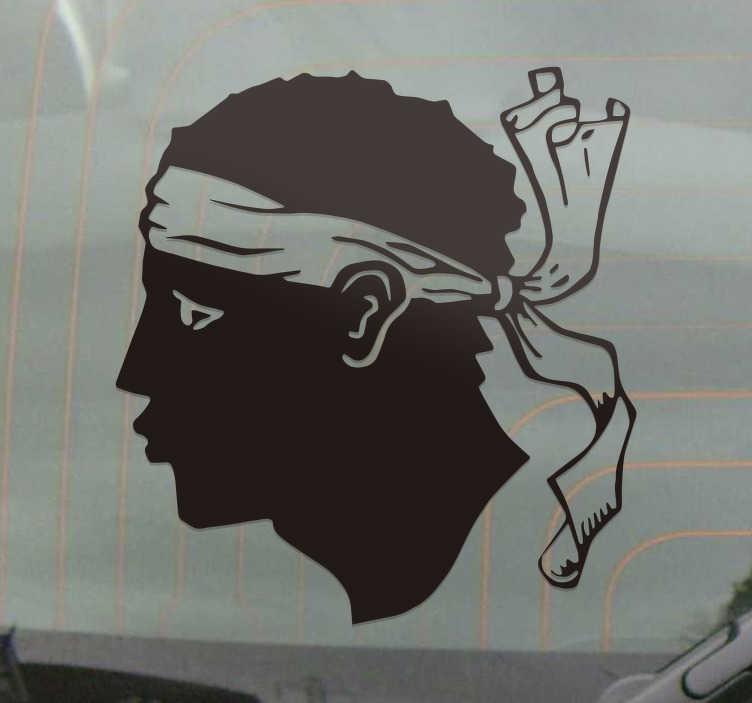 TenStickers. Maure corse head car decal. Osebni avtomobil nalepka za okrasitev površine vozila. To je silhueta glava maure corse. Na voljo je v različnih barvah in velikostih.
