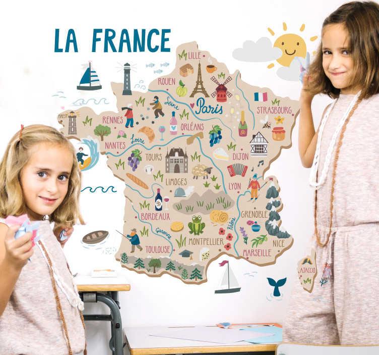 TenStickers. Kraje nalepke zidov francije. Okrasne poučne stenske nalepke za otroško spalnico z oblikovanjem zemljevida francije z značilnostmi mest, postavljenih in dejavnosti.