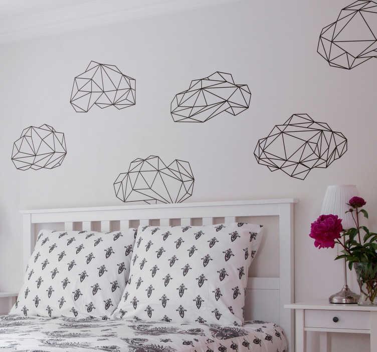 TenStickers. Naklejki ścienne z chmury origami. Kolekcja podobnych, ale unikatowych naklejek ściennych do origami z naszej kolekcji naklejek geometrycznych. Te naklejki są idealne do dekoracji salonu lub sypialni i zapewniają cudowną spokojną atmosferę na ścianach domu.