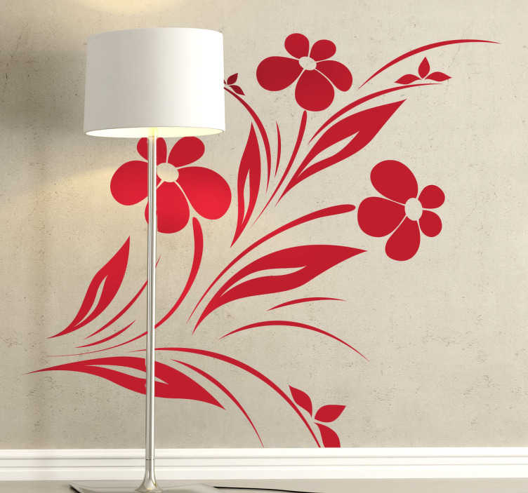 TenStickers. Ornamental Corsage Floral Wall Sticker. A monochrome floral design illustrating daisies from our collection of daisy wall stickers to decorate your living room.