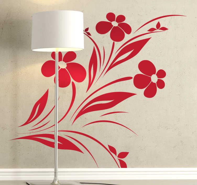 TenStickers. Sticker modern bloemen. Deze muursticker van bloemen is een ideale manier om uw woning te moderniseren en te personaliseren. De mooie bogen stralen een rustige sfeer uit.