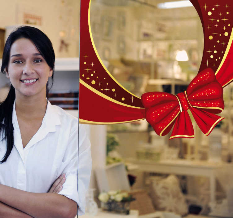 TenStickers. Naklejka dekoracyjna wstążka świąteczna. Naklejka dekoracyjna przedstawiająca czerwoną wstążkę świąteczną i kokardkę. Ładna ozdoba na Twoją witrynę sklepową na zbliżające się święta.