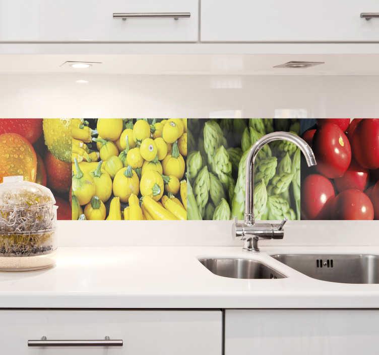 TenStickers. Keuken sticker groenten rand. Creëer een vrolijke sfeer in de keuken met deze kleurrijke groenten rand sticker. De afmetingen zijn geheel naar eigen wens aan te passen.