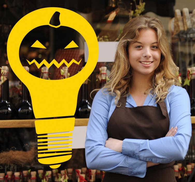 TenStickers. Sticker torche citrouille Halloween. Stickers représentant une torche avec une tête de citrouille maléfique.Adhésif applicable sur les vitrines de magasins à l'approche d'Halloween.