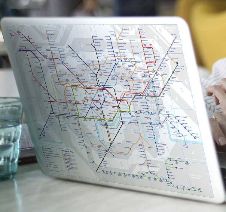 TenStickers. London Tube Map Laptop Skin. London Underground sticker for personalising your laptop or tablet. Decorate your device with the iconic tube map of the London Underground, perfect for adding a touch of personality and colour to your iPad or laptop skin.