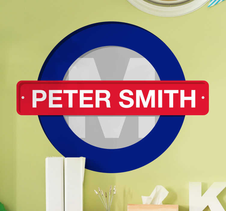 TenStickers. Customisable London Underground Wall Sticker. Customise this iconic London Underground sign wall sticker with your name or your child's name. Ideal bedroom decor! Personalised stickers.