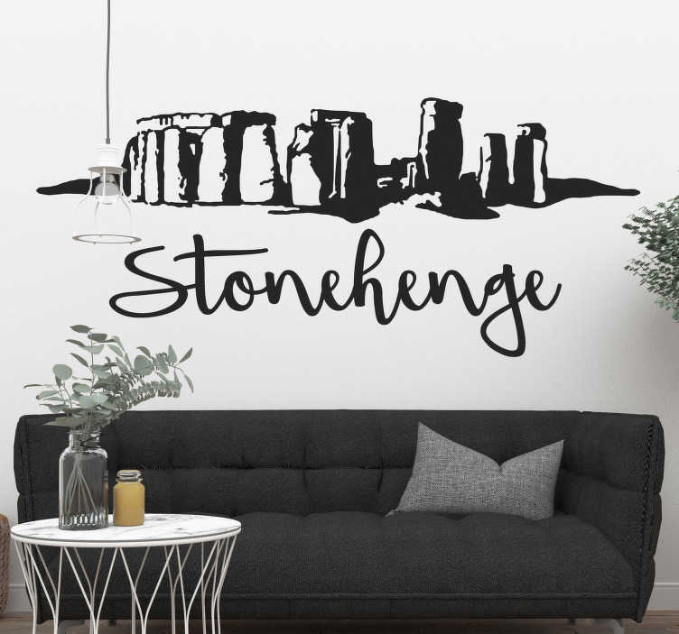 TenStickers. Stonehenge Silhouette Wall Sticker. Timeless Stonehenge wall sticker showing the silhouette of the iconic and mysterious monument in England with a stylish cursive text below. Nobody knows how the 25 tonne rocks came to be, we just admire its beauty and achievement. Now you can have this wonder on the walls of your home!