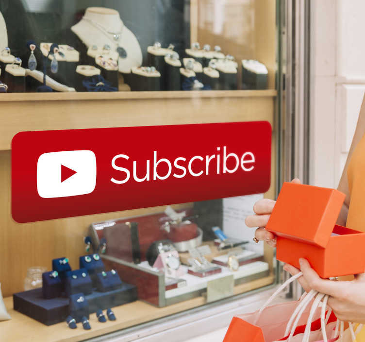 TenStickers. YouTube Subscribe Sticker. YouTube subscribe sticker for shop front windows, walls or laptops. Use this YouTube decal is perfect for businesses to advertise their channel.