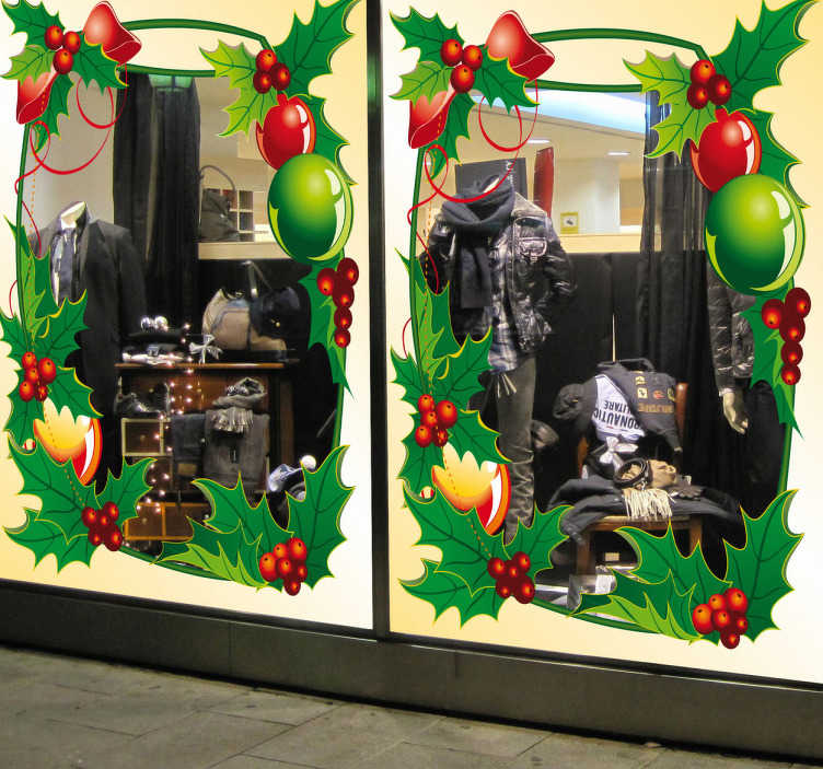 TenStickers. Naklejka dekoracyjna ramka świąteczna. Naklejka przedstawiająca świąteczną ramkę udekorowaną listkami i jagodami jemioły. Ciekawa ozdoba do udekorowania Twojego domu lub sklepu.