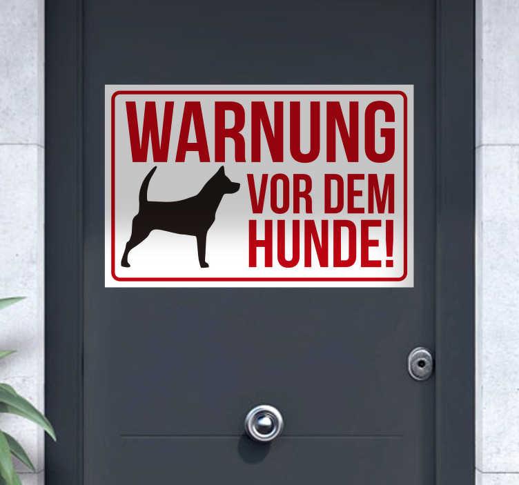 TenStickers. Aufkleber Warnung vor dem Hunde. Aufkleber Warnung vor dem Hunde. Machen Sie Fremde durch das rote Hunde Warnschild mit der Darstellung eines Hundes auf eine Gefahr aufmerksam.
