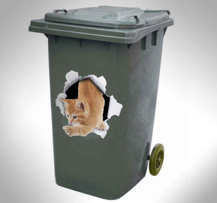 TenStickers. cat trompe l'oeil  decal. Decorative dustbin sticker with the design of a visual effect cat escaping from a paper wall. Buy it in any size you want. It is easy to apply.