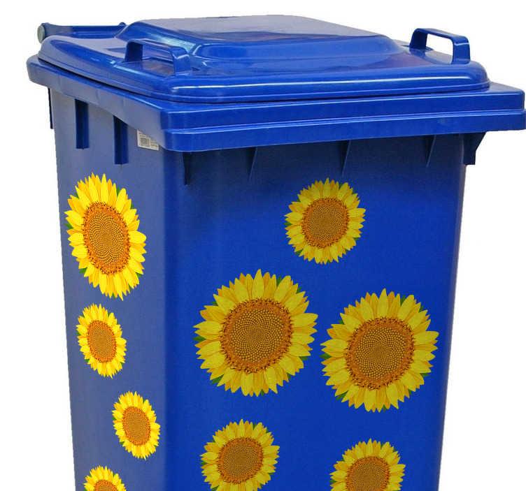 TenStickers. Prullenbak sticker zonnebloemen. Decoreer de prullenbak met deze leuke en vrolijke prullenbak sticker. Breng het zonnetje in de tuin of de schuur met deze zonnebloemen decoratie.