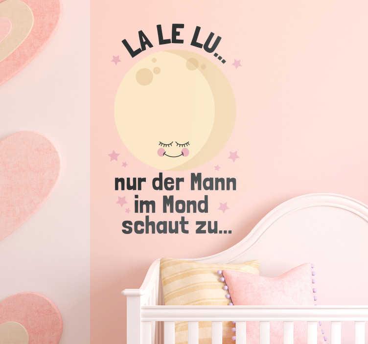TenStickers. Wandtattoo LA LE LU...Nur der Mann im Mond.... Schaffen Sie mit unserem LA LE LU Wandtattoo im Kinderzimmer eine liebevolle Atmosphäre in der sich Ihr Kind rundum wohlfühlen wird.
