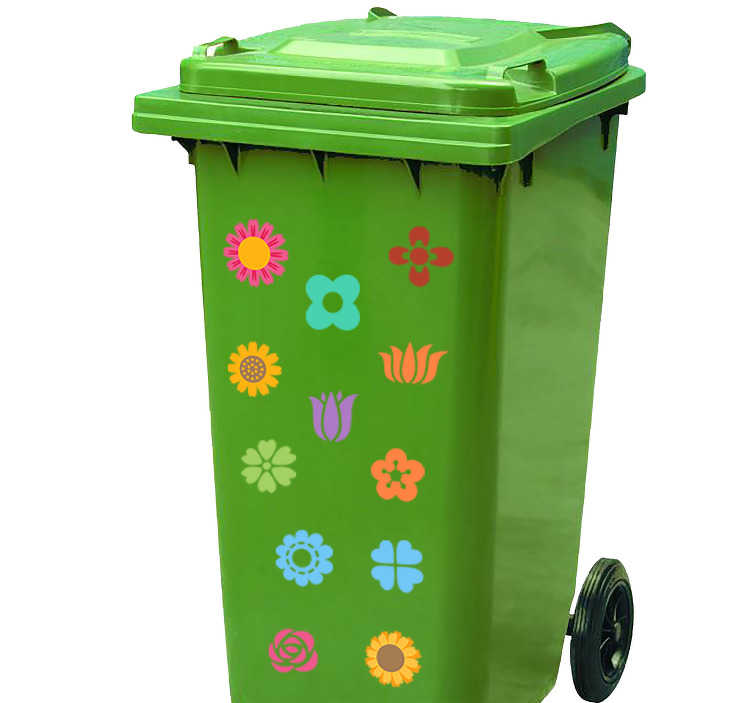 TenStickers. Mülltonnenaufkleber Blumen. Individualisieren Sie Ihre Mülltonne mit schönen farbenfrohen Blumen Aufklebern. Durch unseren Mülltonnenaufkleber Blumen verschönern Sie nicht nur Ihren Müllcontainer, sondern sorgen in der ganzen Straße für ein freundlicheres Erscheinungsbild.