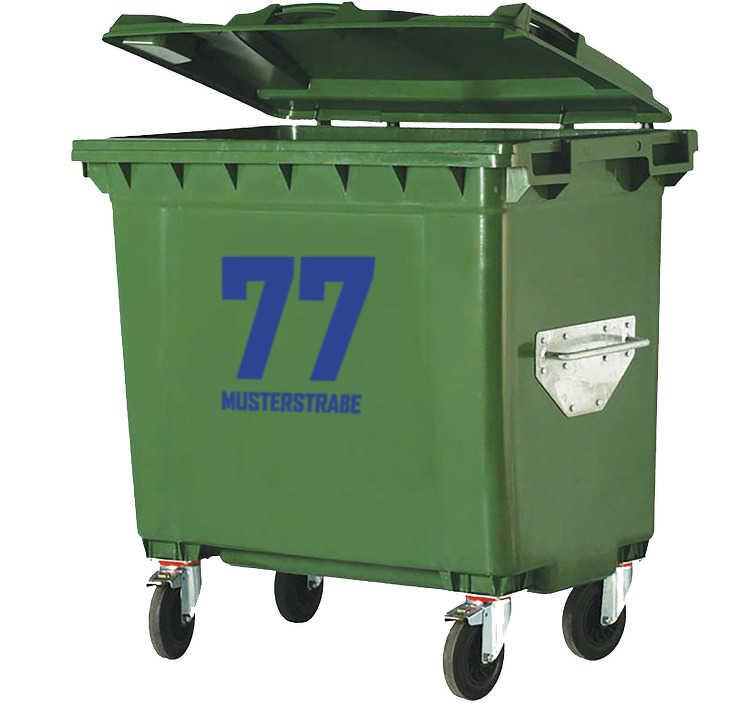 TenStickers. Mülltonnenaufkleber Hausnummer und Straßenname. Mit unserem Mülltonnenaufkleber können Sie Ihre Mülltonne mit Straßennamen und Hausnummer personalisieren. Verleihen Sie Ihrer Mülltonne mit einem personalisierbaren Mülltonnen Aufkleber Ihrer Adresse Einzigartigkeit