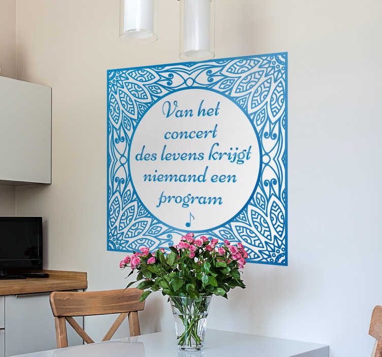 TenStickers. Blue floral tile  wall text decal. Decorative home wall decal made on a squared backgroundwith ornamental flower pattern. Available in any required size and easy to apply.