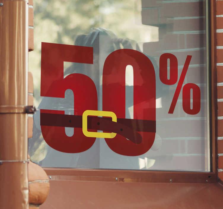TenStickers. Sticker vitrine Père Noël soldes. Sticker pour vitrine d'un Père Noël annonçant que des soldes sont en cours dans votre boutique.