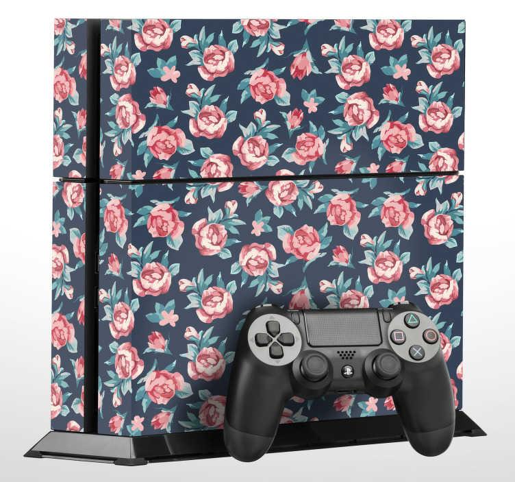 TenVinilo. Vinilo floral PS4 textura rosas. Elegante pegatina adhesiva ornamental para PS4 y controladores con un estampado de rosas sobre un fondo azul marino. Descuentos para nuevos usuarios.