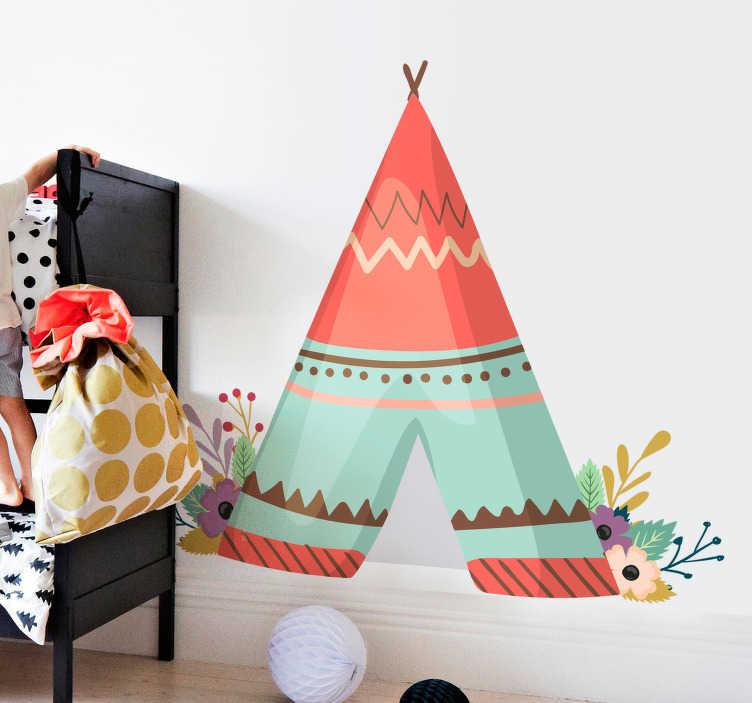TenStickers. Muursticker tipi tent. Ga op vakantie in eigen huis met deze leuke tipi tent. De muursticker is geïnspireerd door de tipi's waarin de indianen leefden.