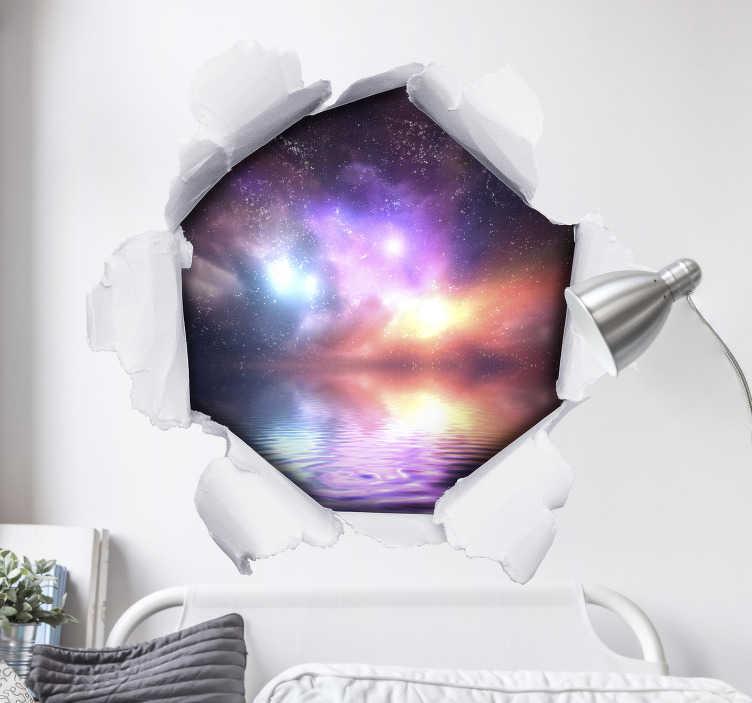 """TenStickers. Personalisiertes 3D Wandtattoo Loch in Papierwand. Spektakuläres personalisiertes 3D Wandtattoo, dasmittels eines visuellen Effekts ein Loch in Ihrer """"Papierwand"""" simuliert. Der Aufkleber kann mit Ihrem eigenen Foto personalisiert werden."""