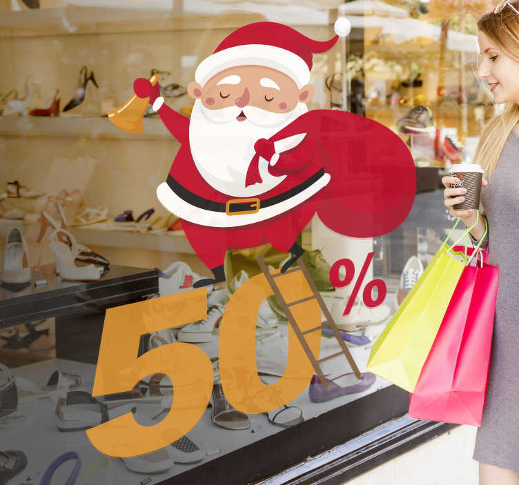 TenStickers. Customisable Christmas Promotion Decal. Customisable-Seasonal -Business Stickers- Original design of Father Christmas holding a blank sign board. Customise your text. Ideal for businesses
