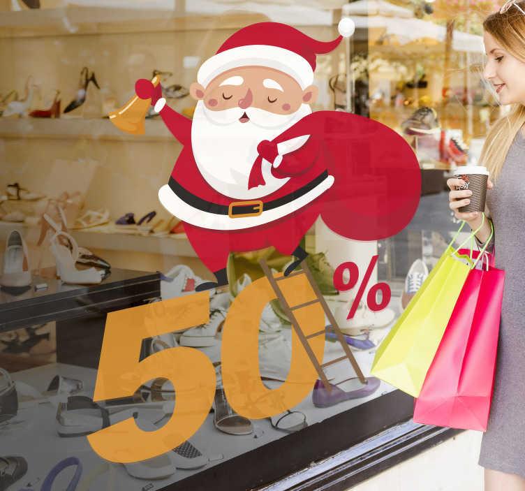 TenStickers. Sticker affiche Père Noël soldes. Décorez la vitrine de votre boutique avec vos offres durant les fêtes de Noël grâce à ce sticker Père Noël.