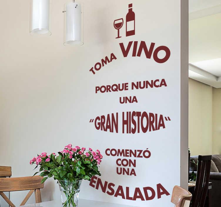 TenVinilo. Vinilo frase cocina vino y ensalada. Vinilos decorativos cocina con un divertido texto que ensalza el vino como bebida.