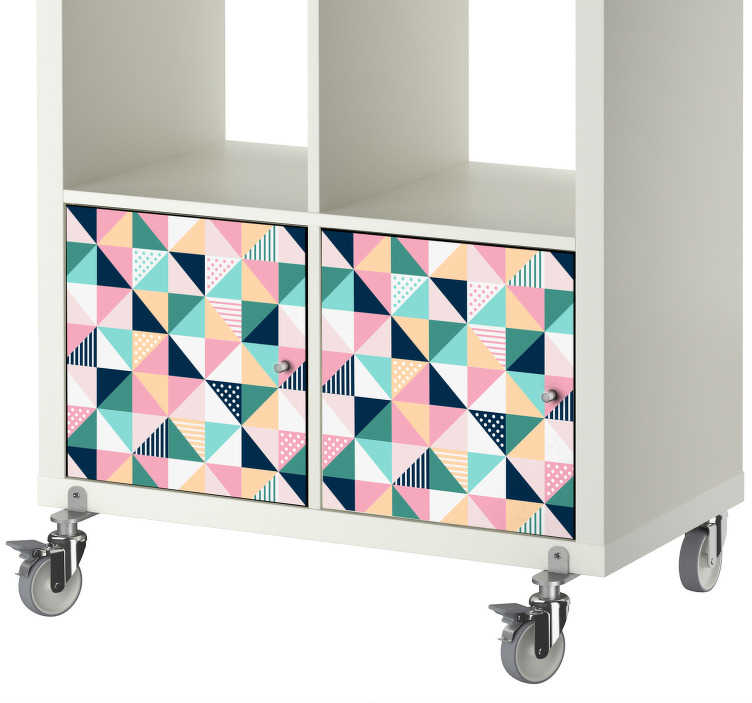 TenStickers. Triangle Pattern Furniture Sticker. Colourful geometric vinyl stickerfor decorating furniture of all kinds This design shows multiple triangles in a stylish pattern to add a touch of personality to the drawers, cupboards and doors of your home.