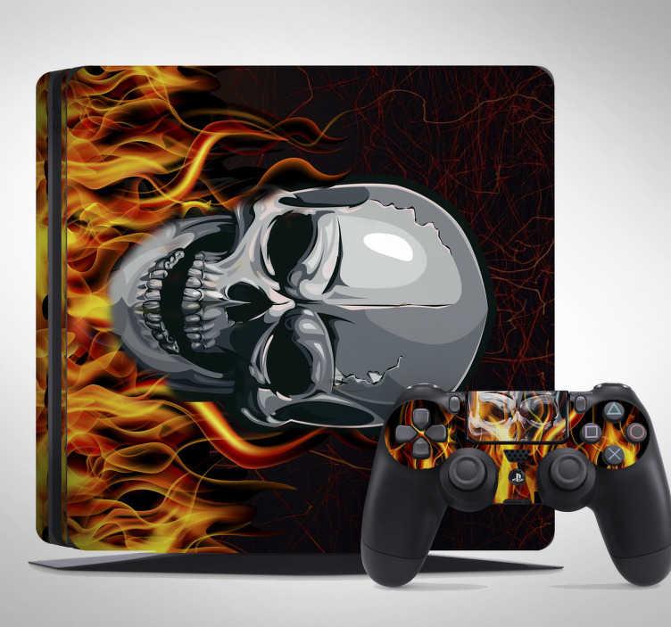 TenVinilo. Vinilo PS4 calavera. Vinilo PS4 slim, Pro o clásica, también para los mandos con un genial dibujo de una calavera ardiente.