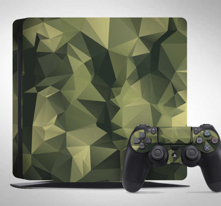 TenStickers. Vinil adesivo para PS4 camuflagem. Apresentamos aqui uma sugestão de decoração de um vinil adesivo para decorar a tua PS4 com um padrão de camuflagem, ideal para os gamers.